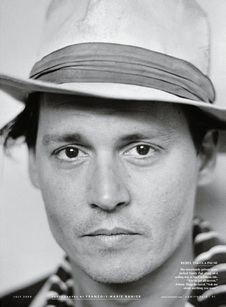 Johnny Depp in Vanity Fair, July 2009.