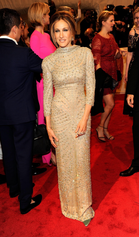 Sarah Jessica Parker Jessica Alba gold dresses