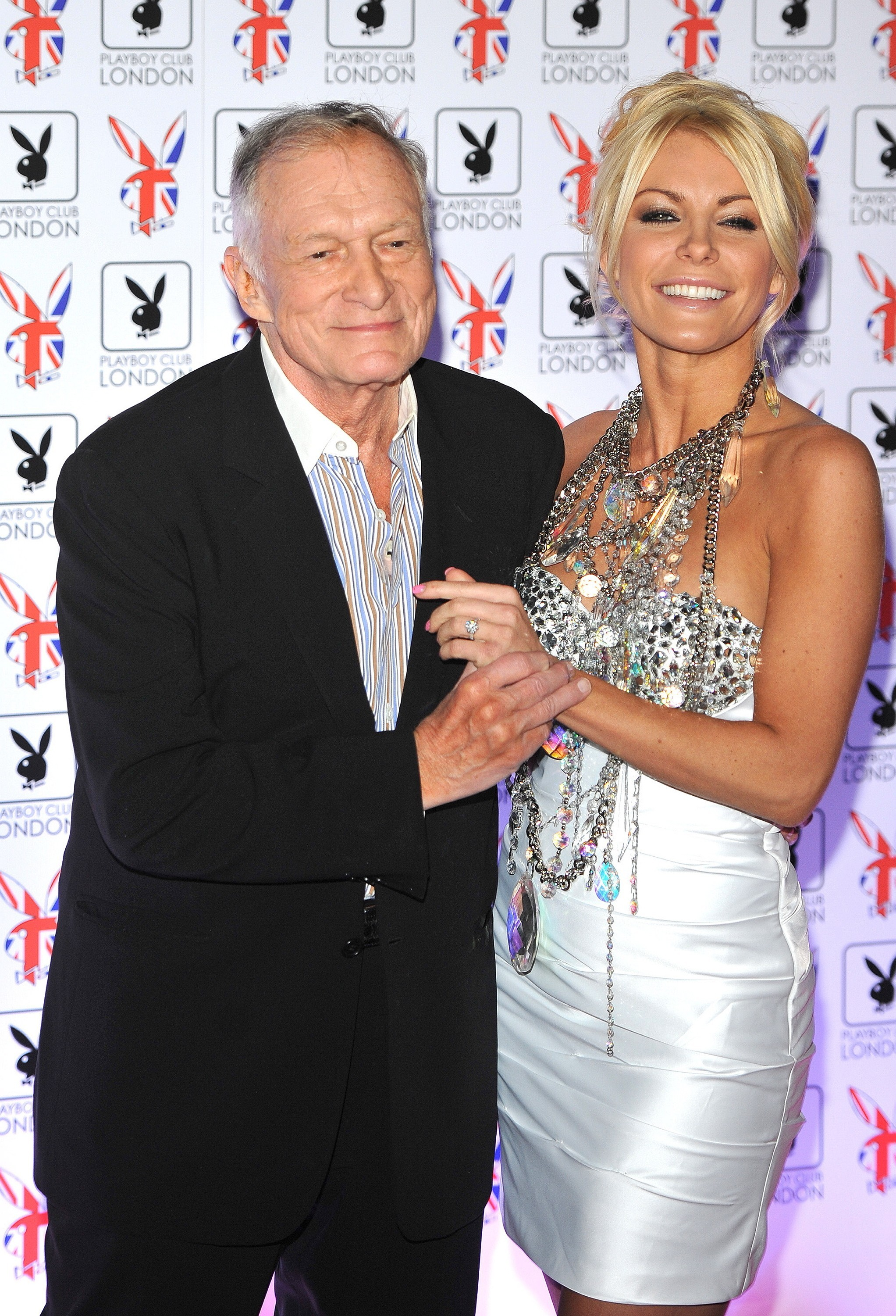 Hugh Hefner Chrystal Harris silver white dress