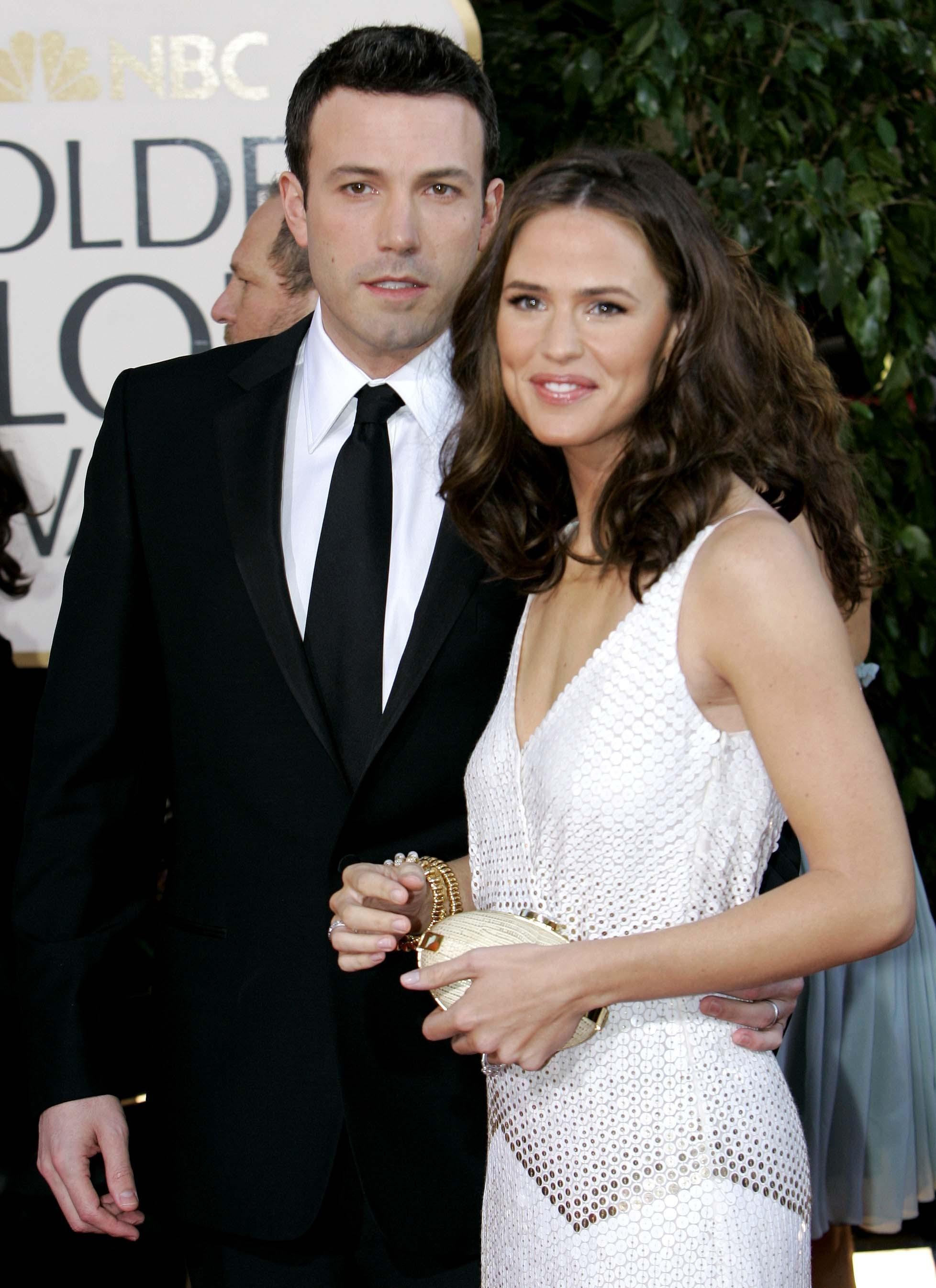 Jennifer Garner white dress Ben Affleck black suit