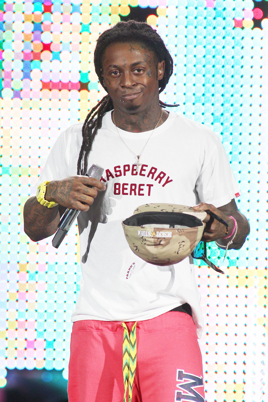 Lil Wayne performing at the Cruzan Amphitheater