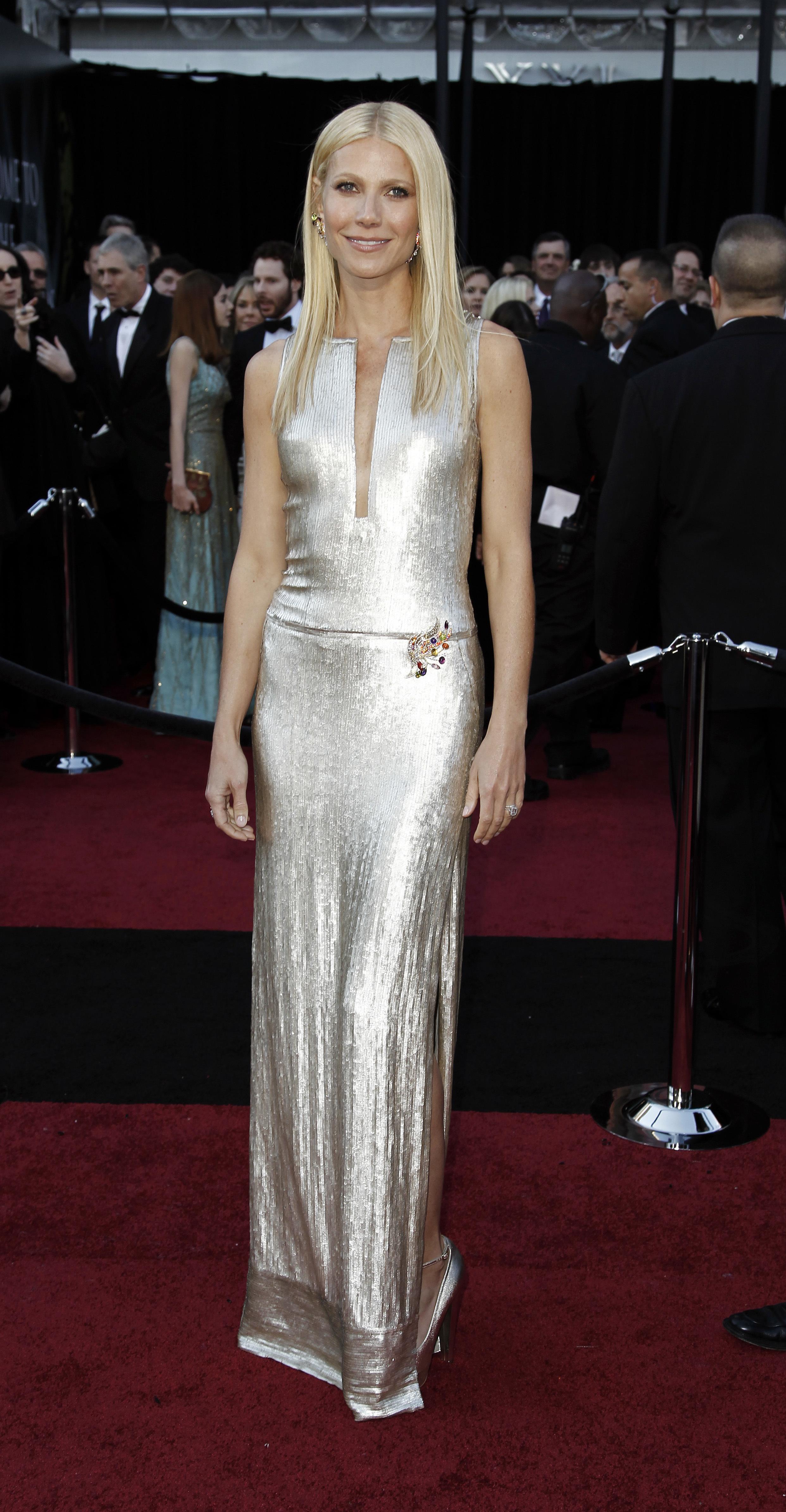 Gwyneth Paltrow silver Academy Awards dress