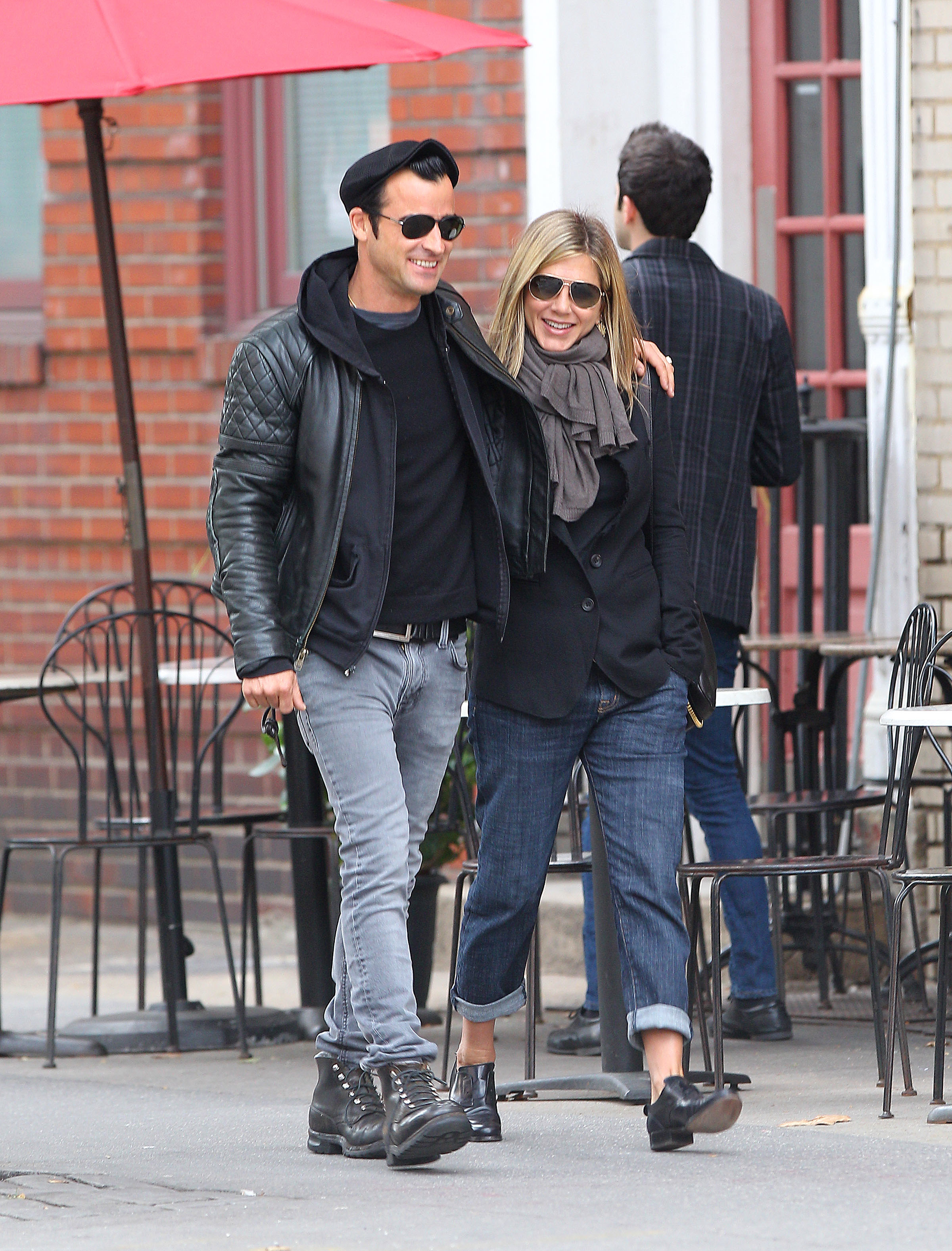 Justin Theroux Jennifer Aniston combat boots black style Esquire uniform NY