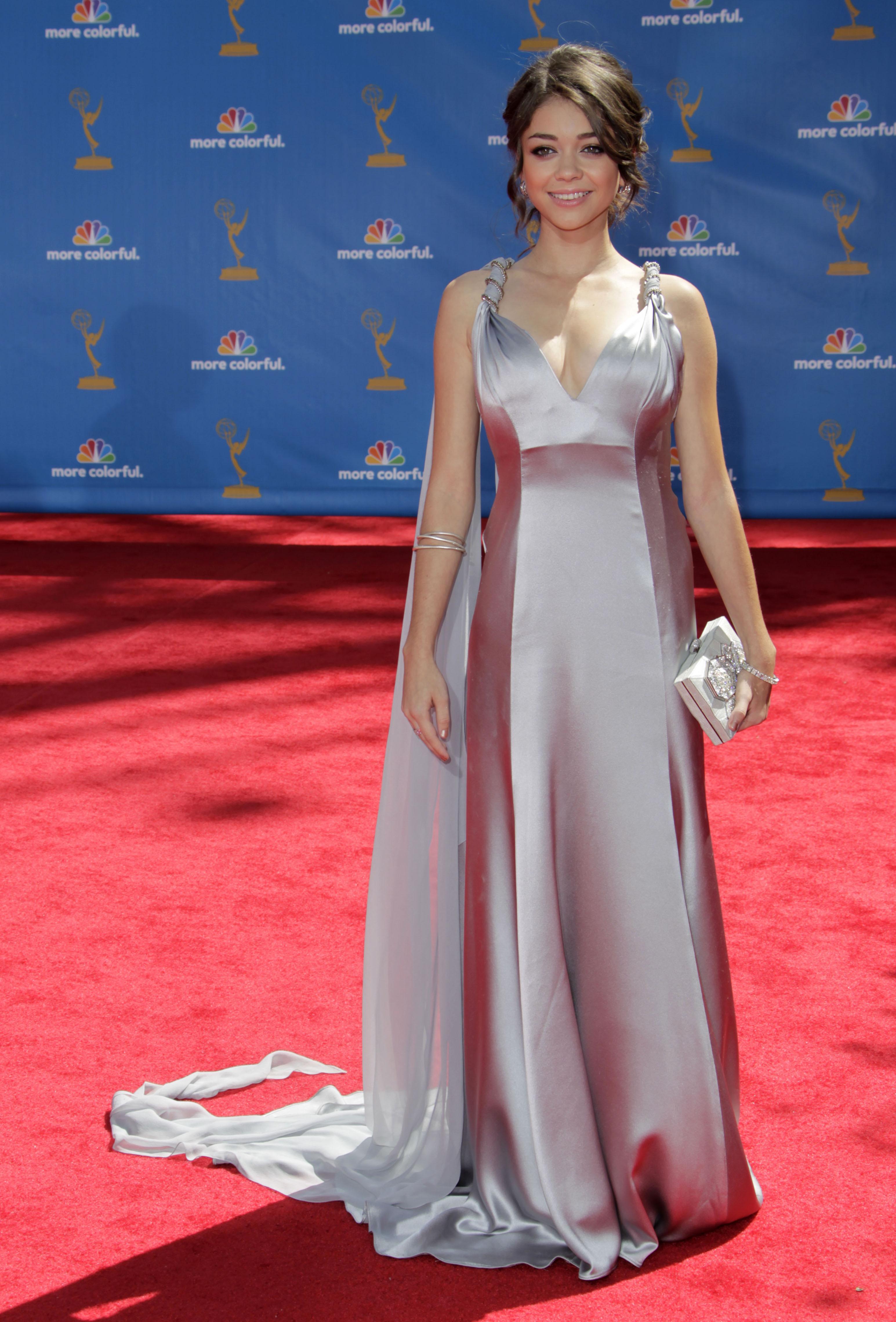 Sarah Hyland Lea Michele metallic dress