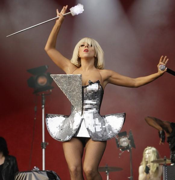 lady gaga silver dress