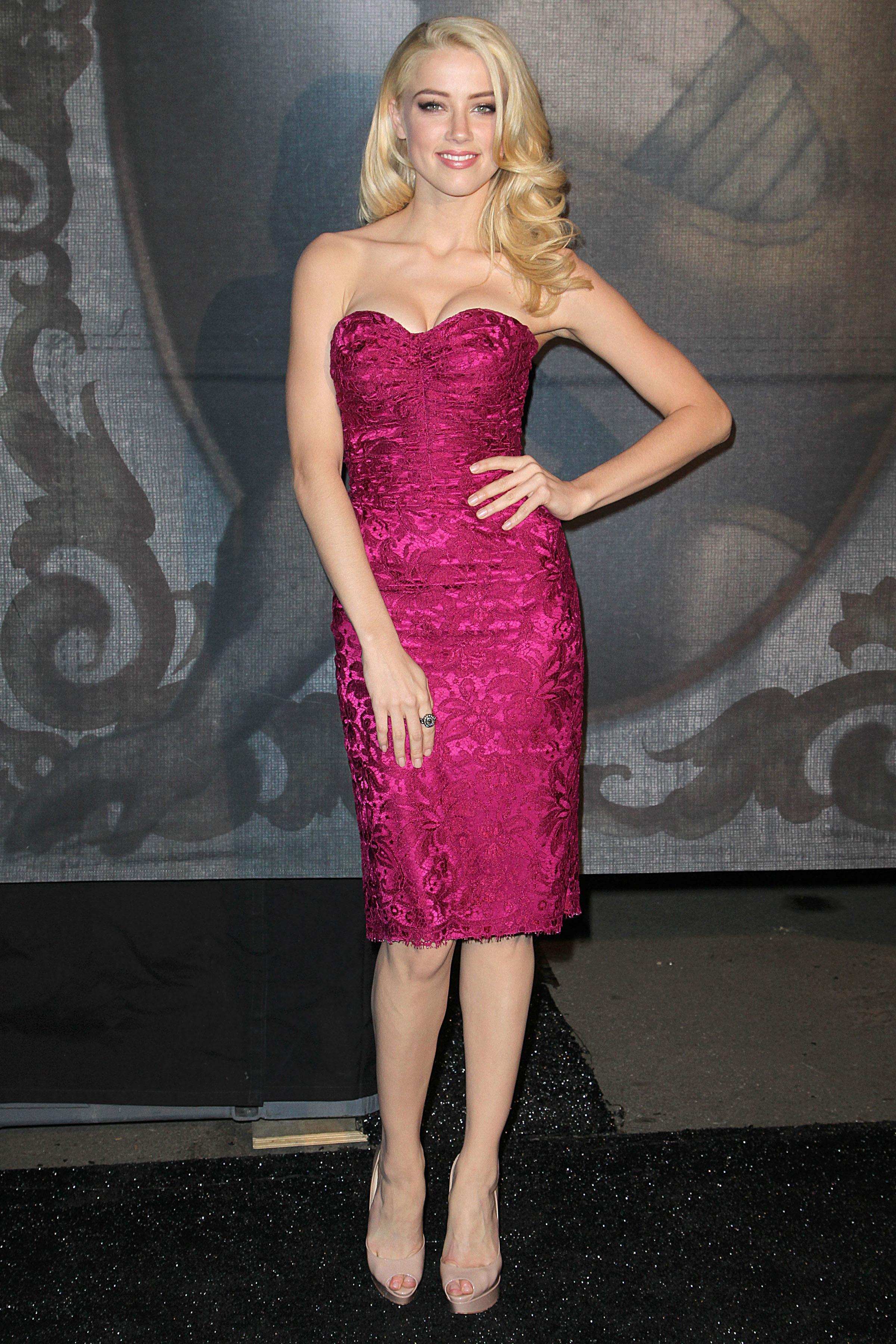 amber heard pink dress