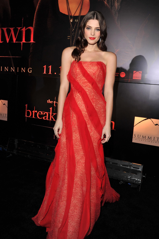 Ashley Greene red DKNY dress