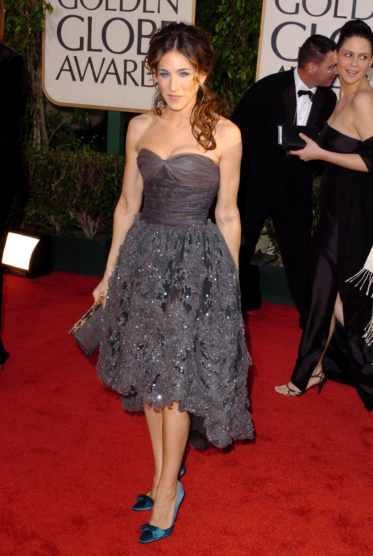 Sarah Jessica Parker Jessica Alba gray strapless dress