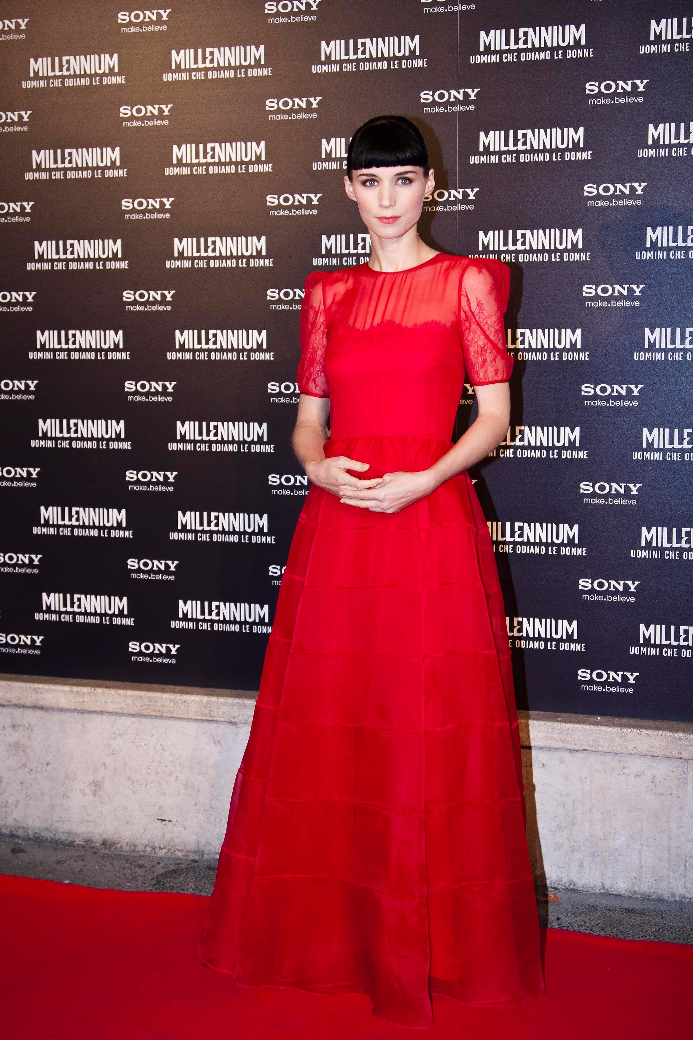 rooney mara red dress