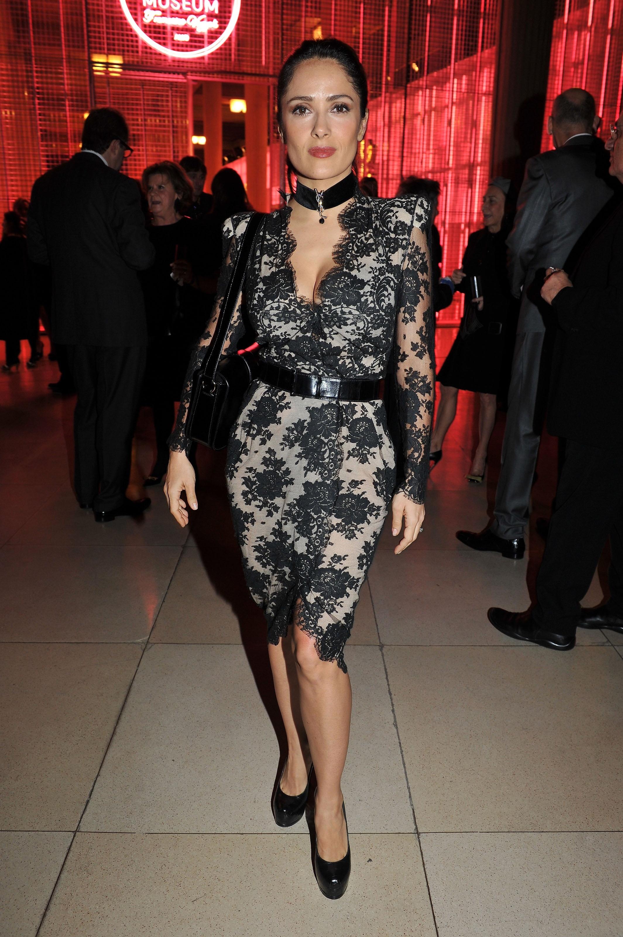 Salma Hayek lace cleavage