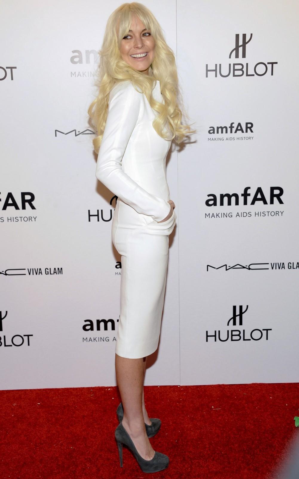 Lindsay Lohan white dress blond hair