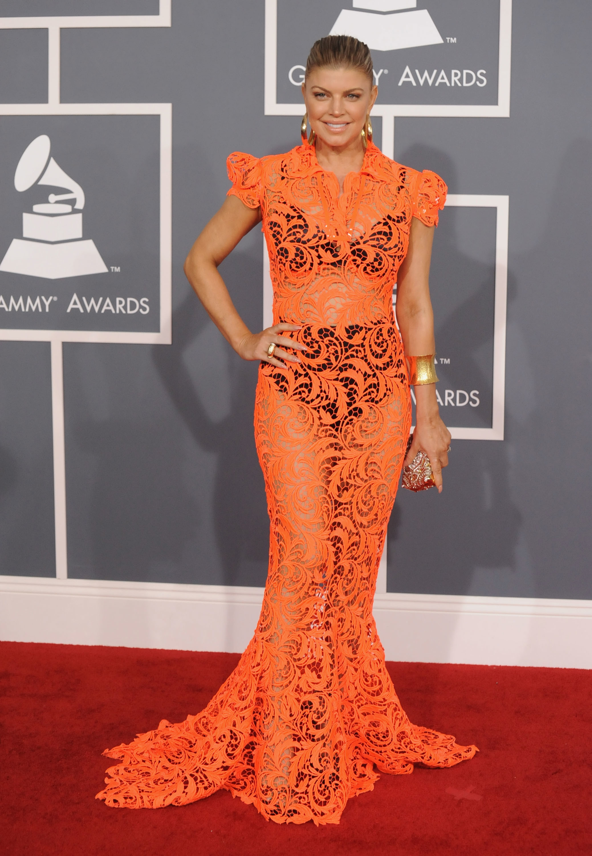 fergie orange lace dress