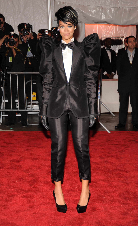 Rihanna black tux