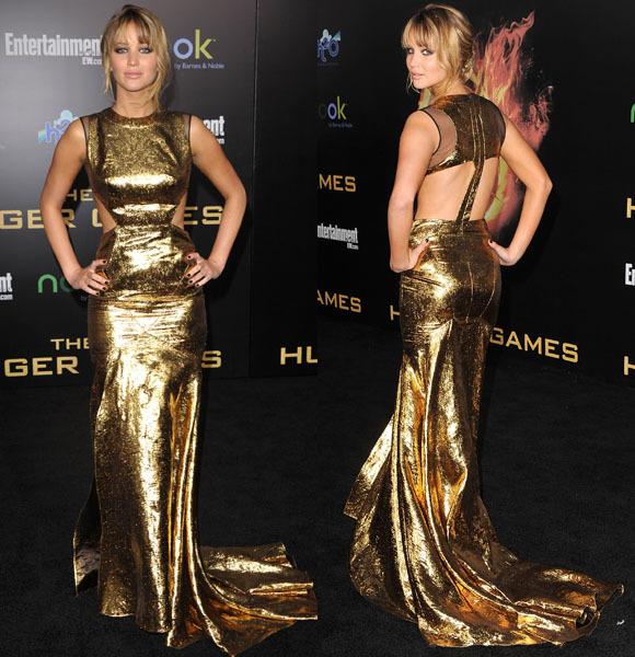 Jennifer Lawrence gold dress
