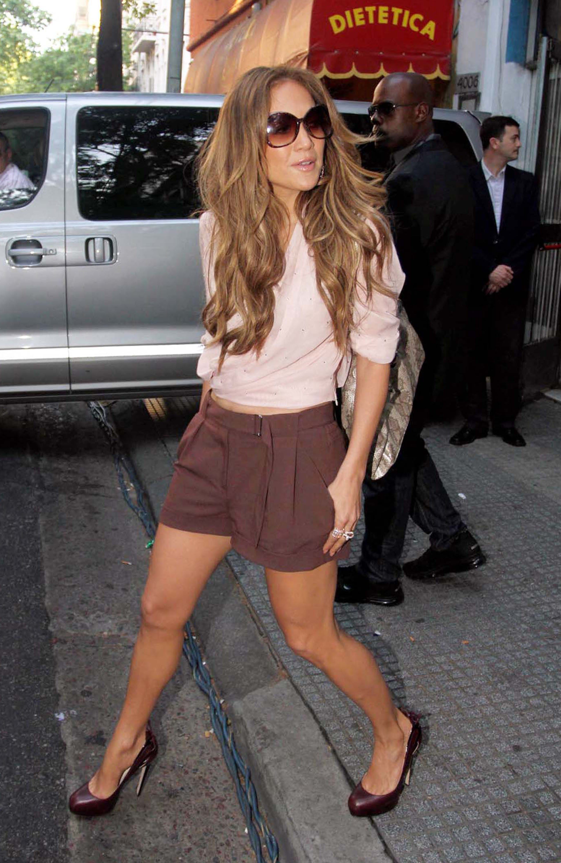 Jennifer Lopez high waisted shorts