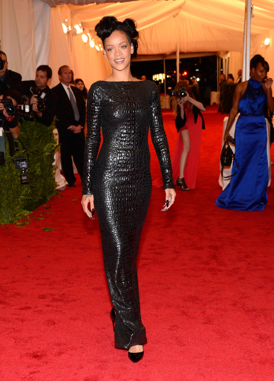 Rihanna Nicole Richie reptile print tom ford black dress