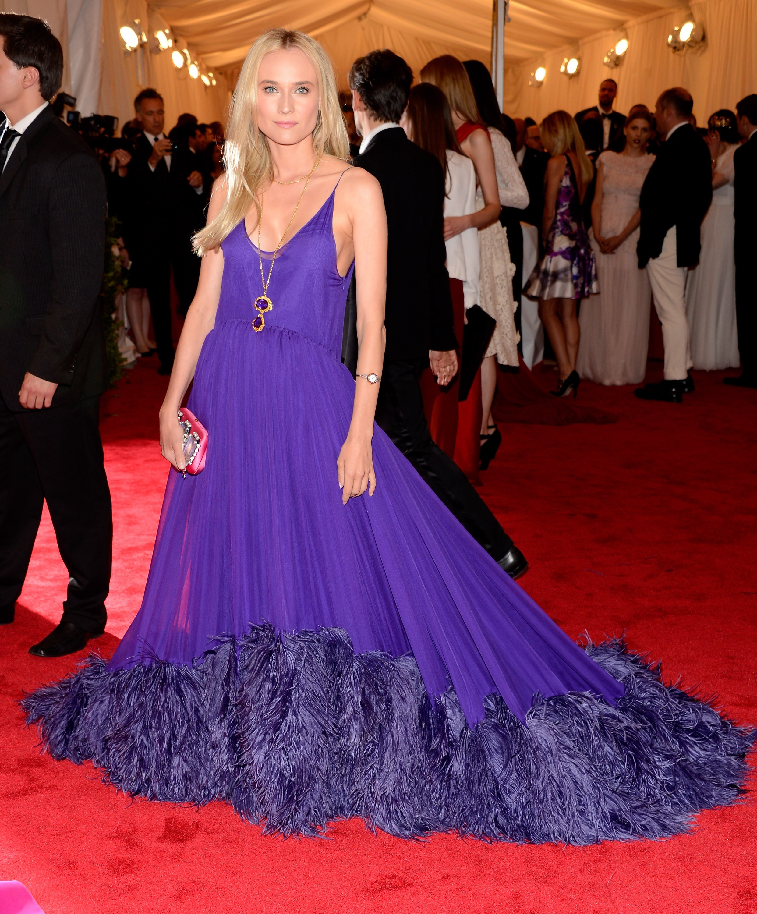 Diane Kruger Prada purple 2012 Met Gala Stephenie Meyers The Host