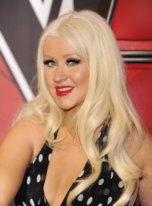 Christina Aguilera red lip black and white polka dot dress