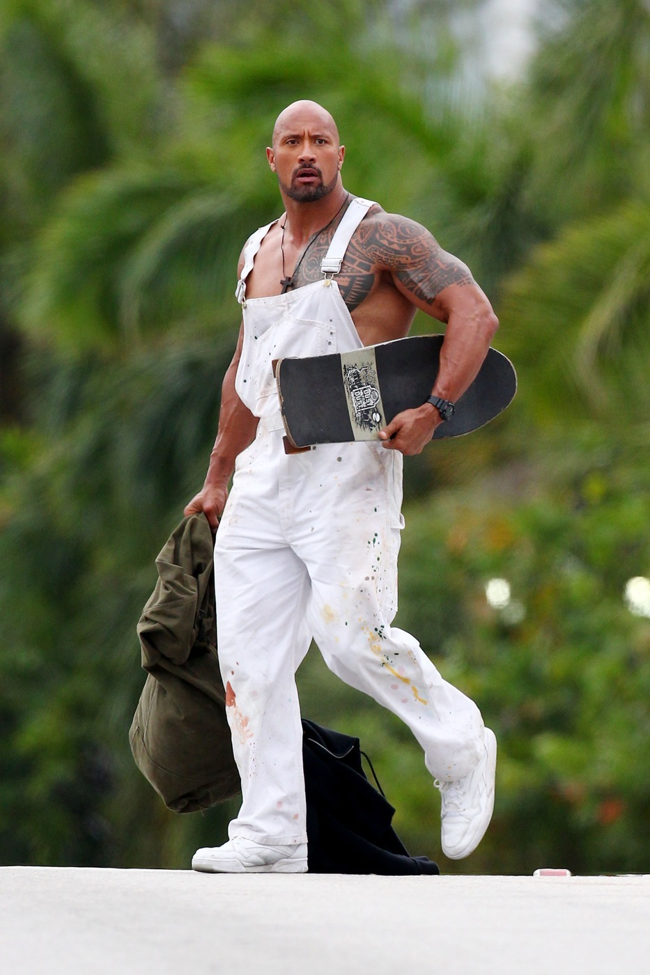 The Rock Dwayne johnson white overalls