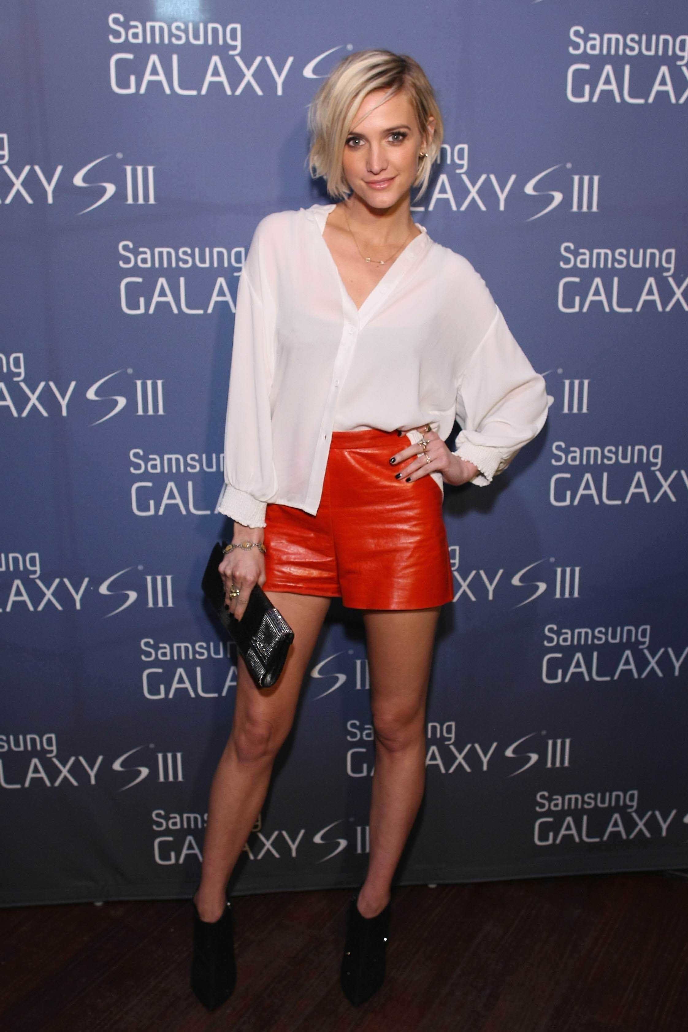 Ashlee Simpson leather shorts