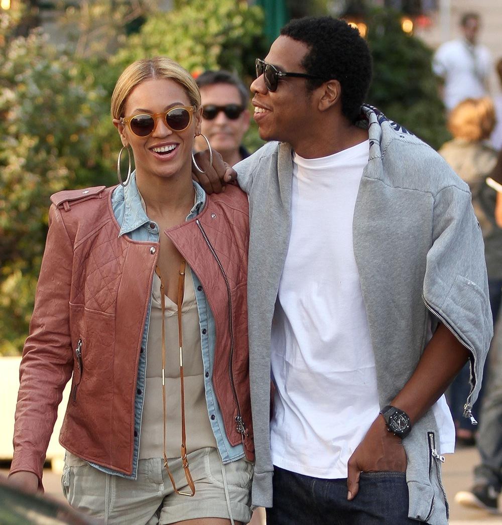 Beyonce coral leather jacket Jay z walking grey hoodie white t shirt
