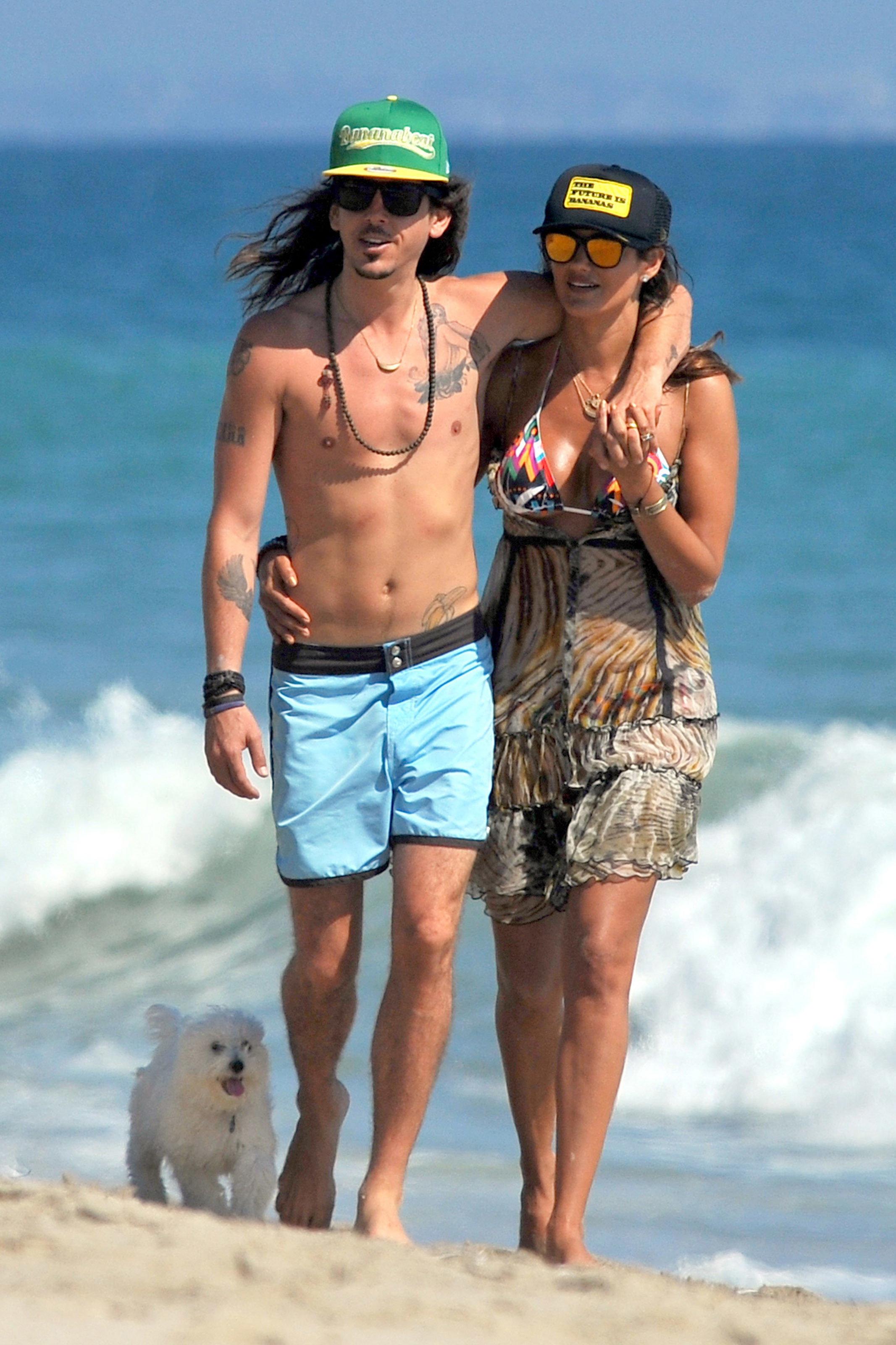 Cisco Adler and wife Barbara Stoyanoff spend the day at the beach in Malibu, Calif., on Aug. 12, 2012.