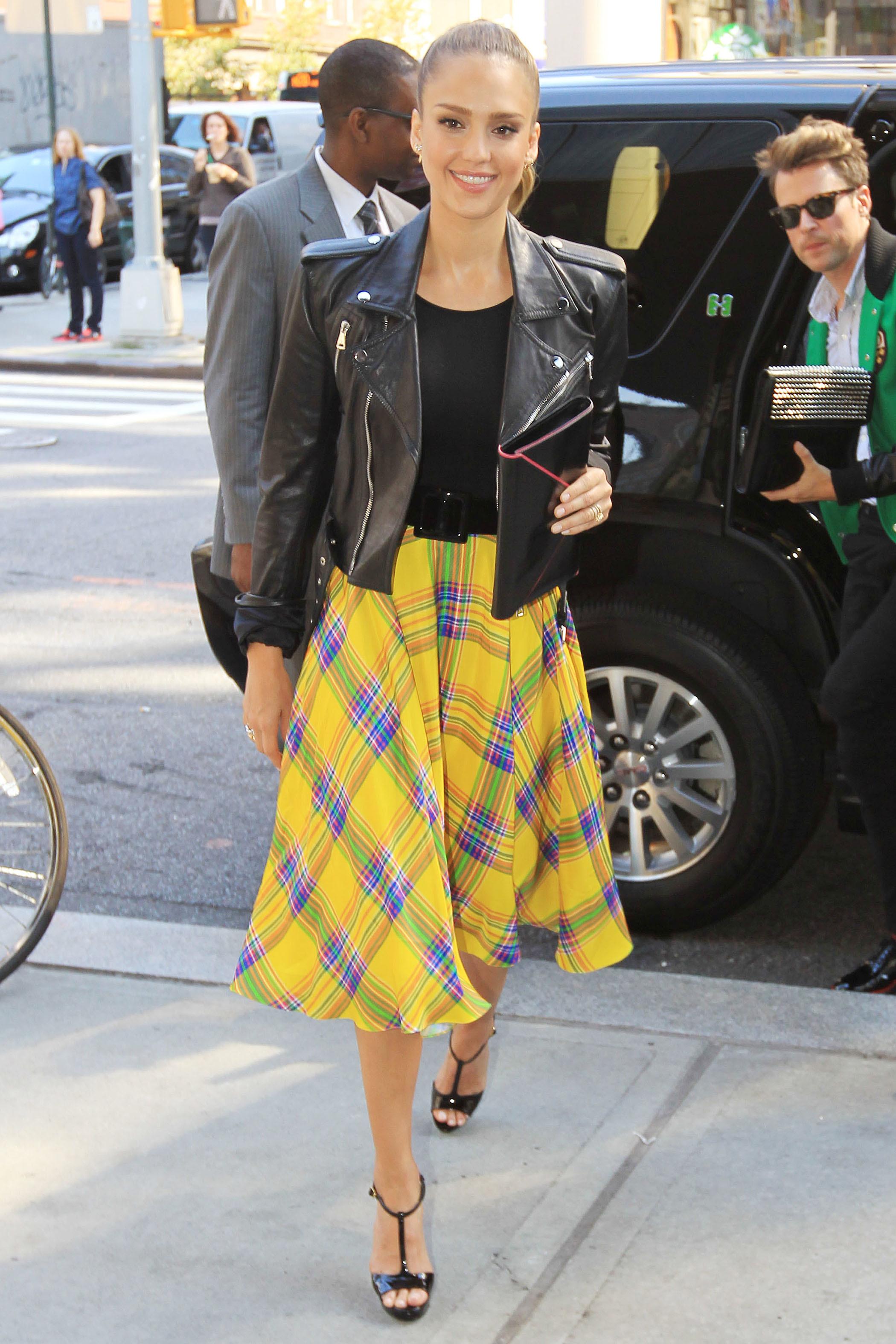 Sarah Jessica Parker Jessica Alba skirt motorcycle jacket