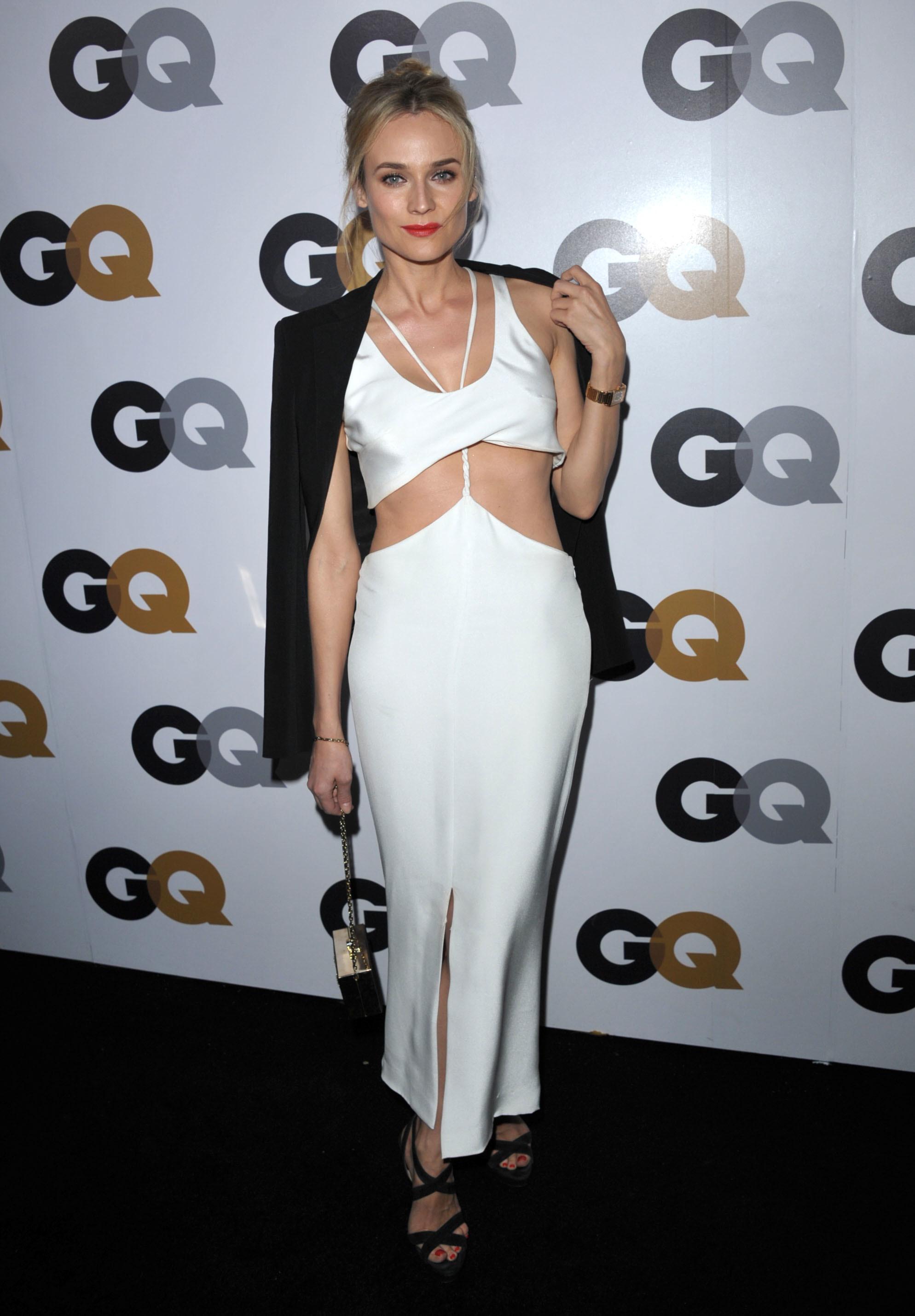 Diane Kruger white slinky Cushnie et Ochs dress cut outs GQ
