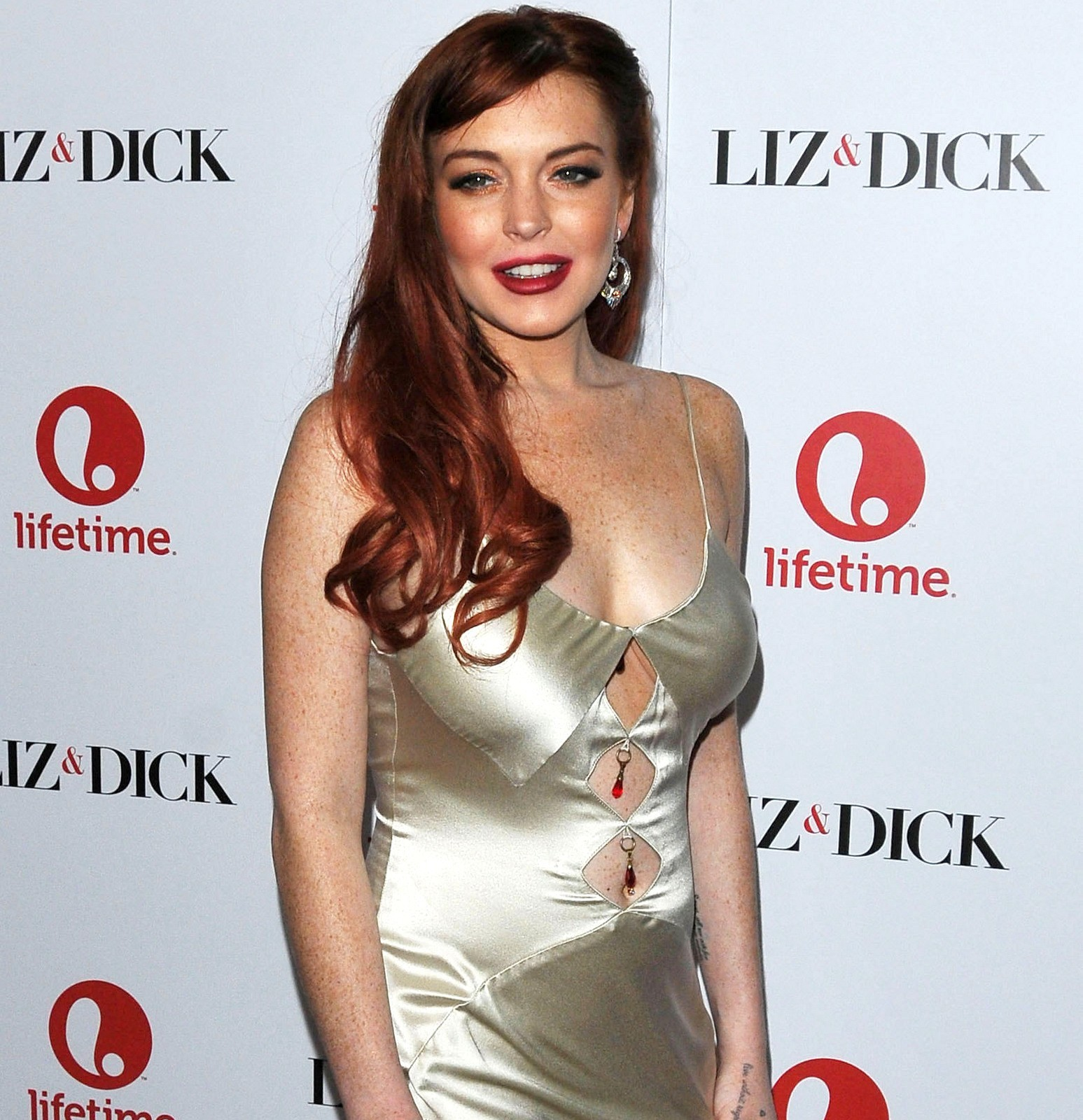 Lindsay Lohan red carpet Liz & Dick lipstick satin dress