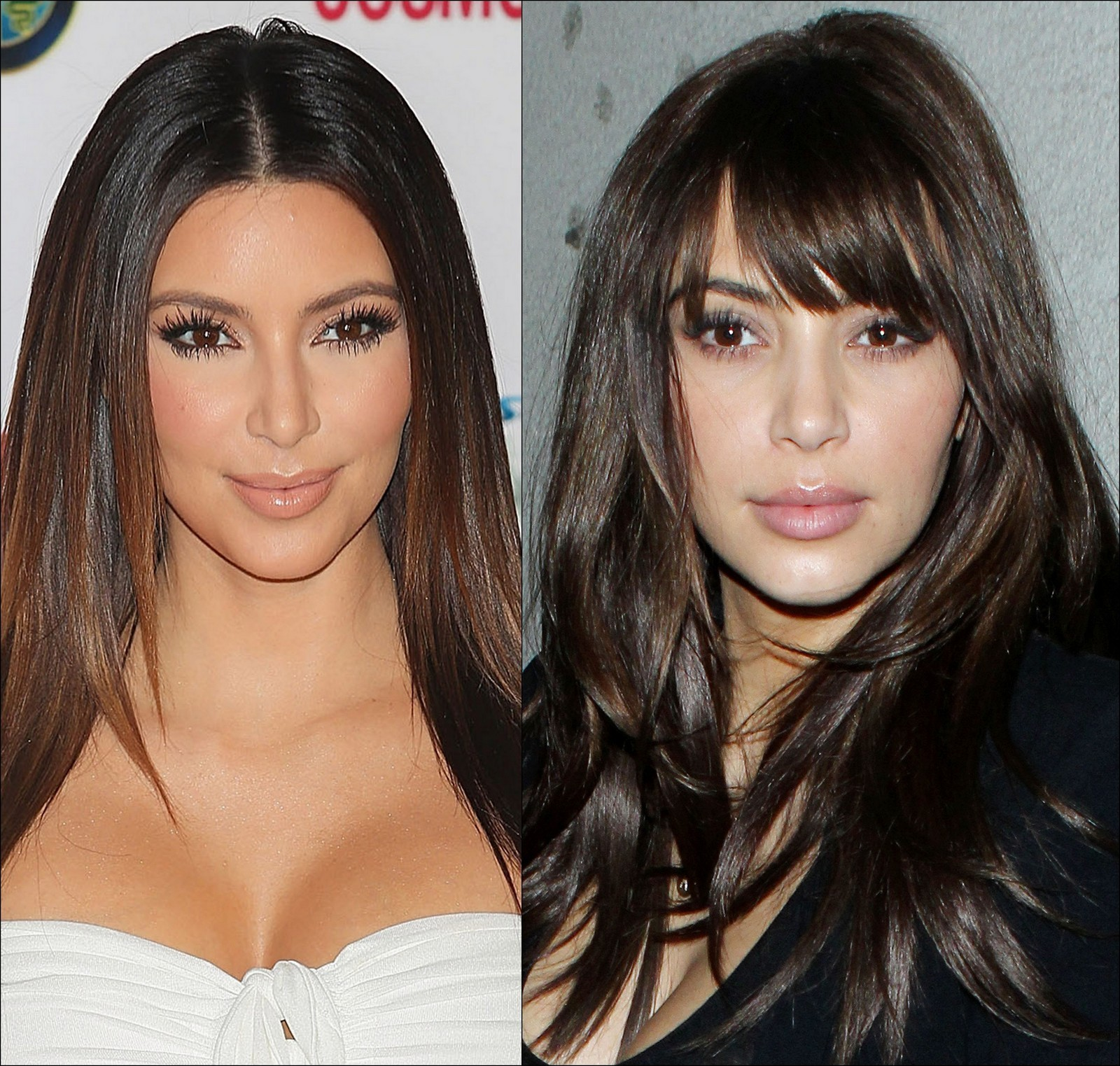 Kim Kardashian with and without bangs