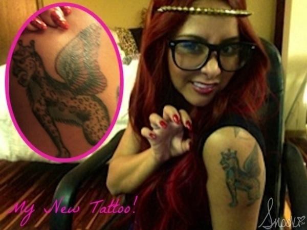 Nicole Snooki Polizzi New Tattoo Fierce Leopard 123112 1 600x450