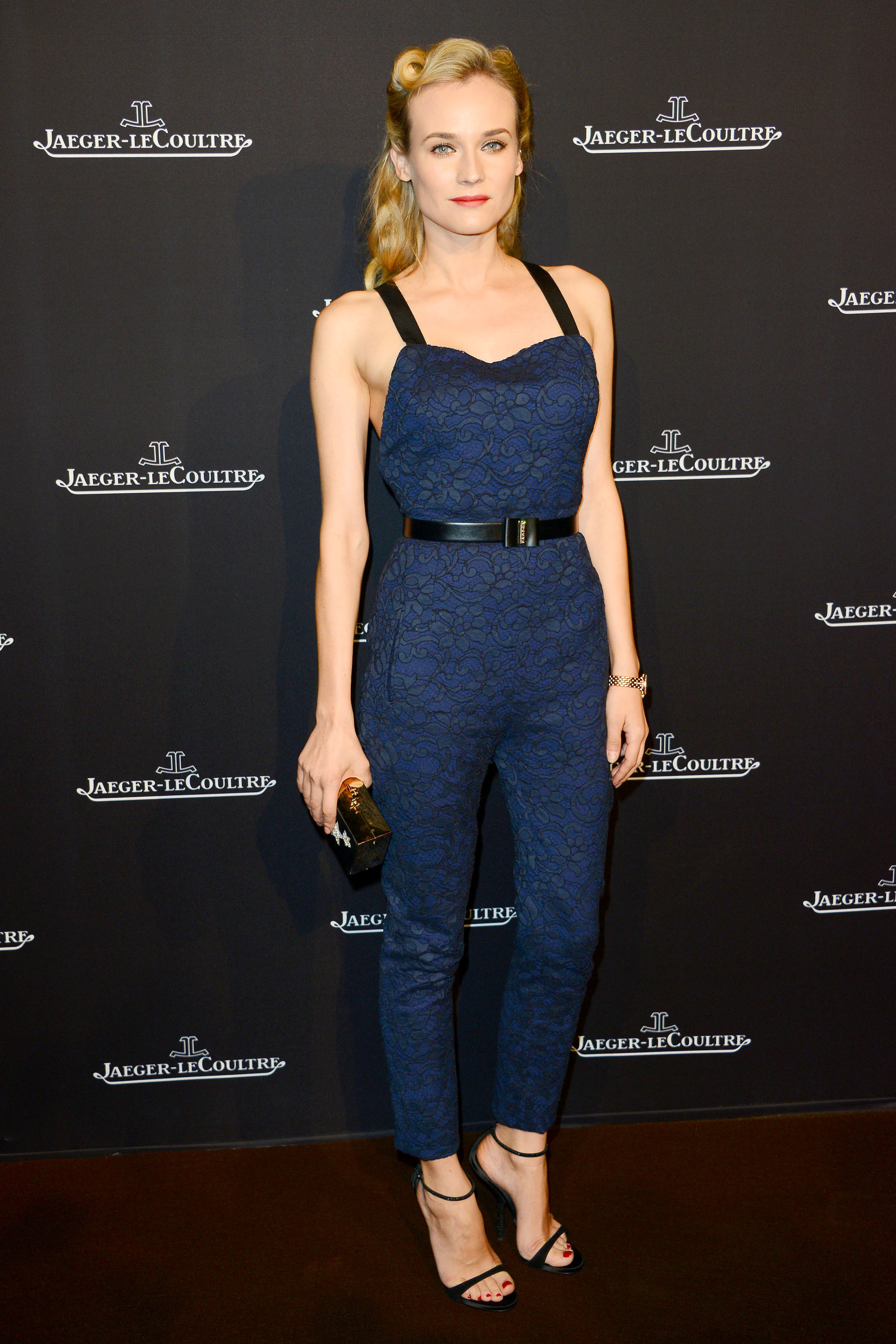 Diane Kruger navy Jaeger LeCoultre one piece wave curl
