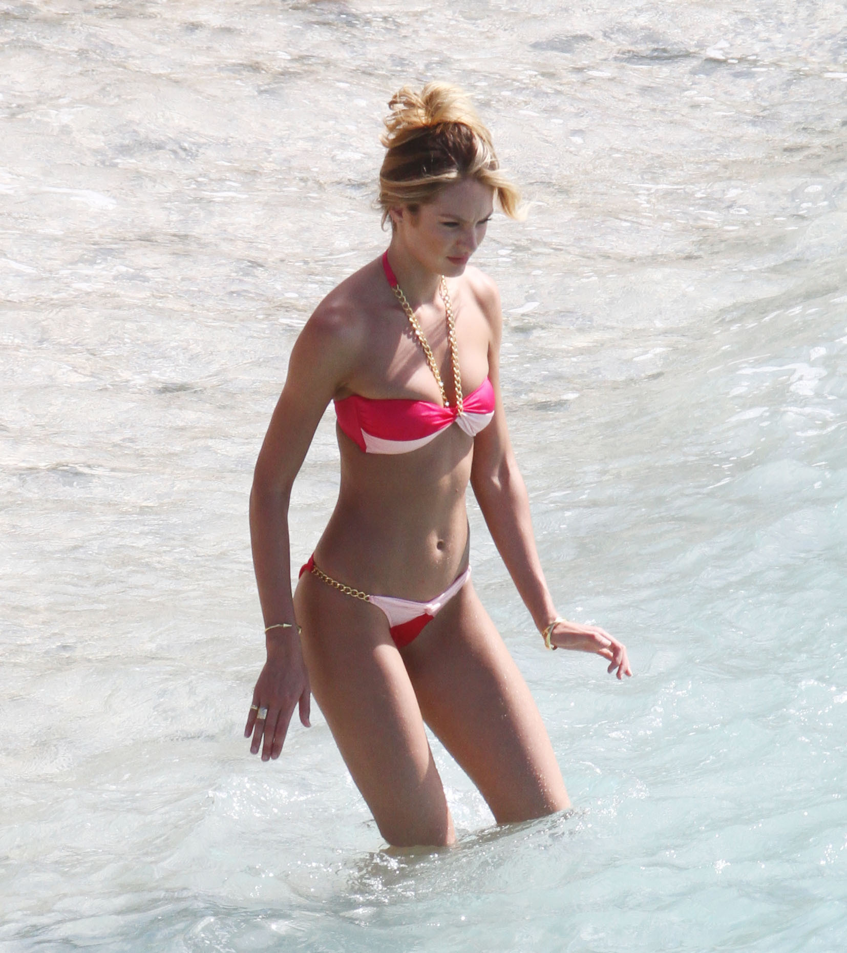 Candice Swanepoel pink and white bikini