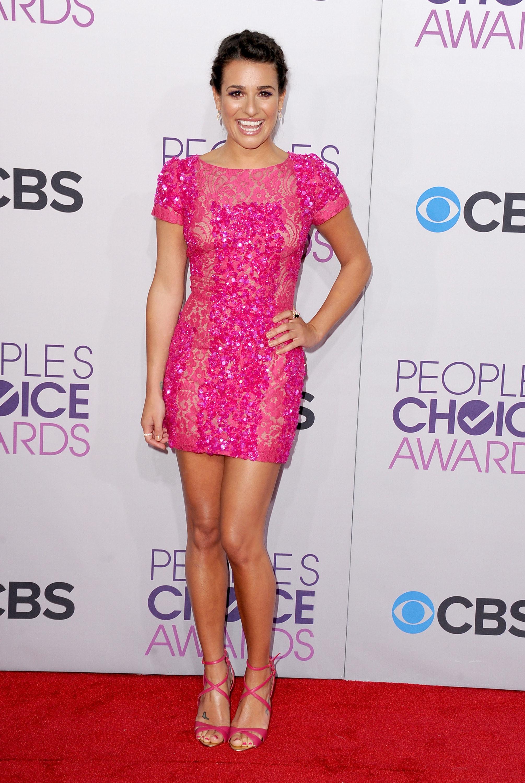 Lea Michele Glee pink minidiress 2013 Peoples choice