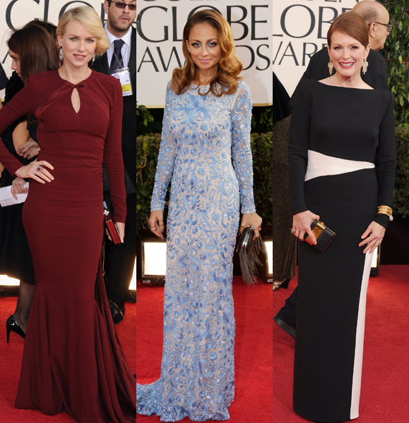 long sleeve dresses golden globes 2013 nicole richie naomi watts