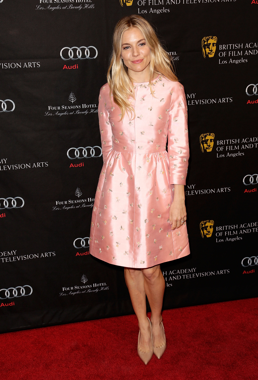 Sienna Miller pink rosette dress