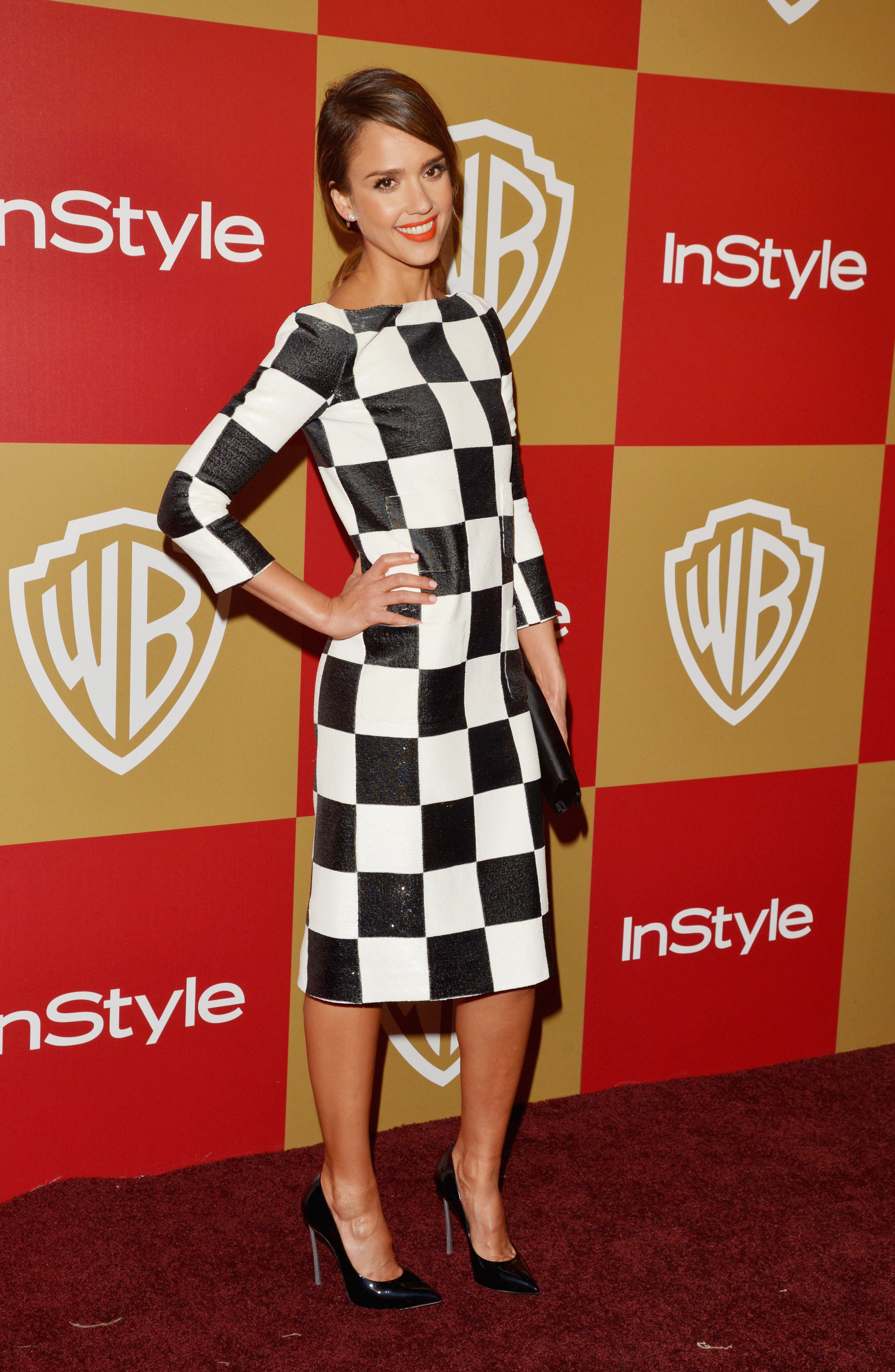 Jessica Alba checkered louis vuitton checks dress