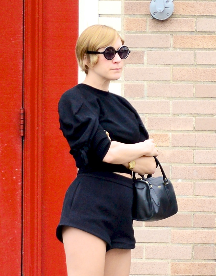 Chloe Sevigny black shorts sweater
