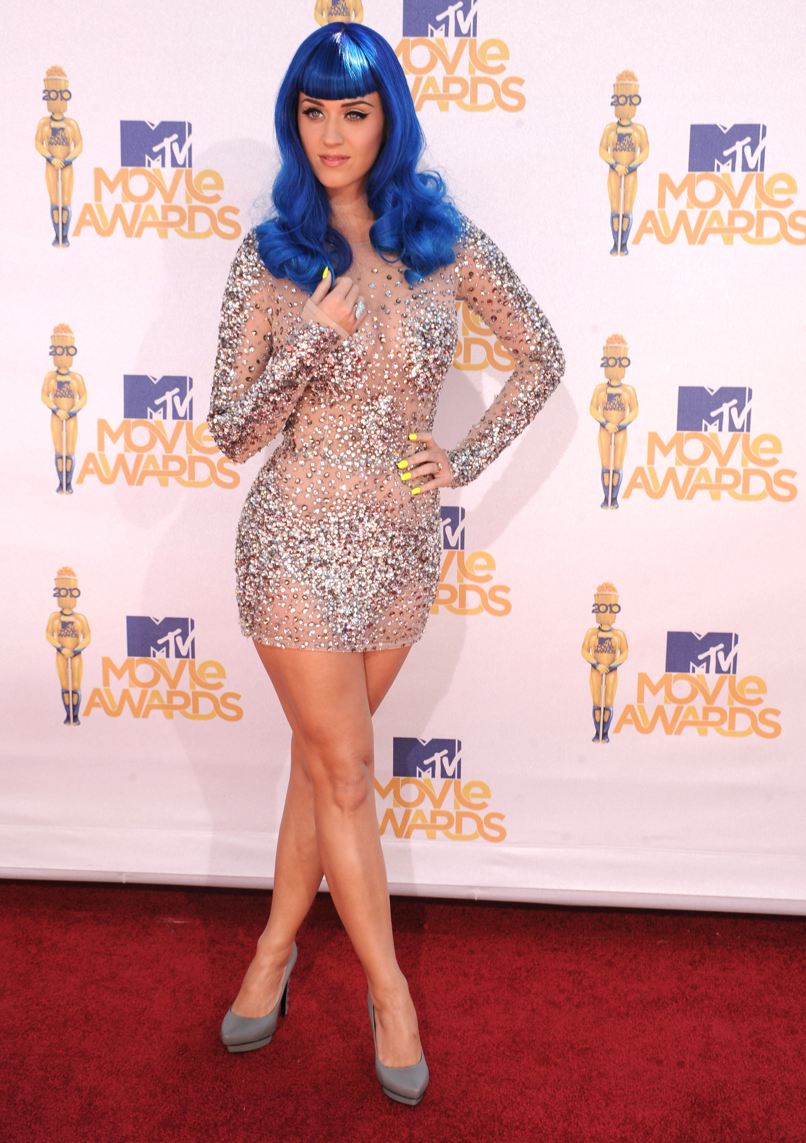 Katy Perry nude sparkly minidress