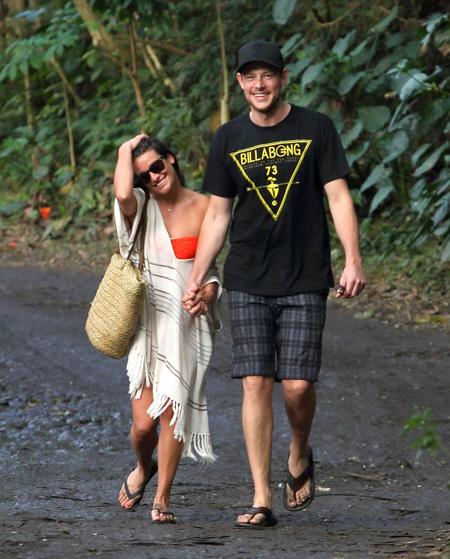 Lea Michele crochet top Corey Montieth black shirt boardshorts