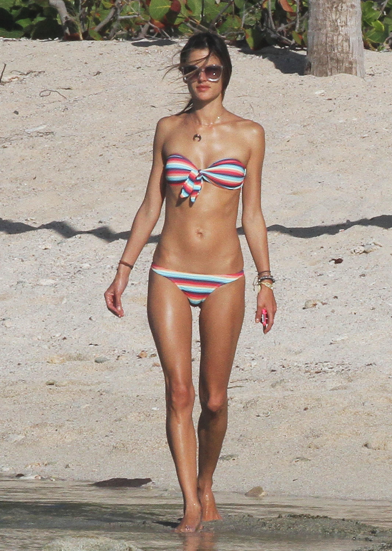 Alessandra Ambrosio rainbow bikini