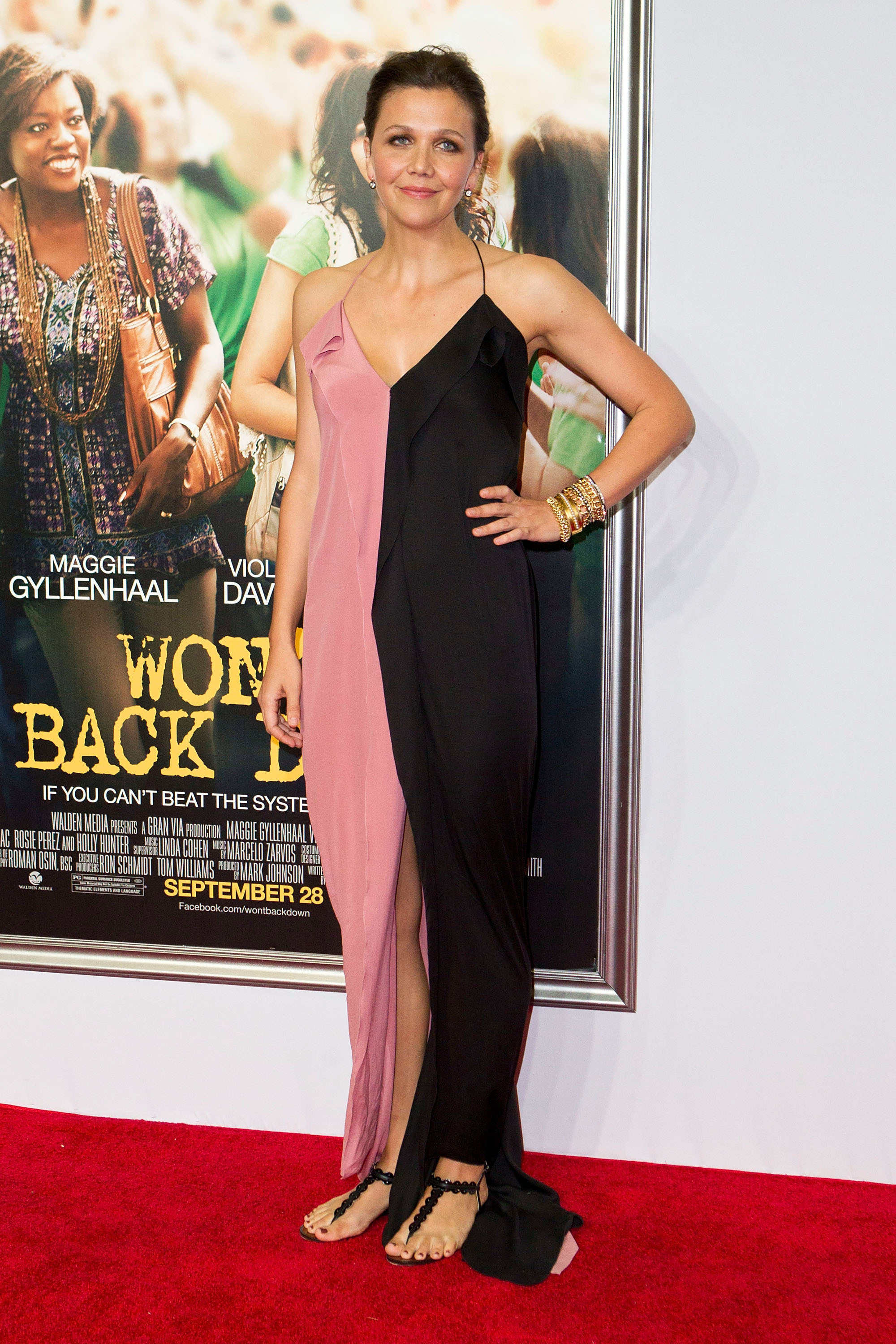 Maggie Gyllenhaal pink and black dress sandals