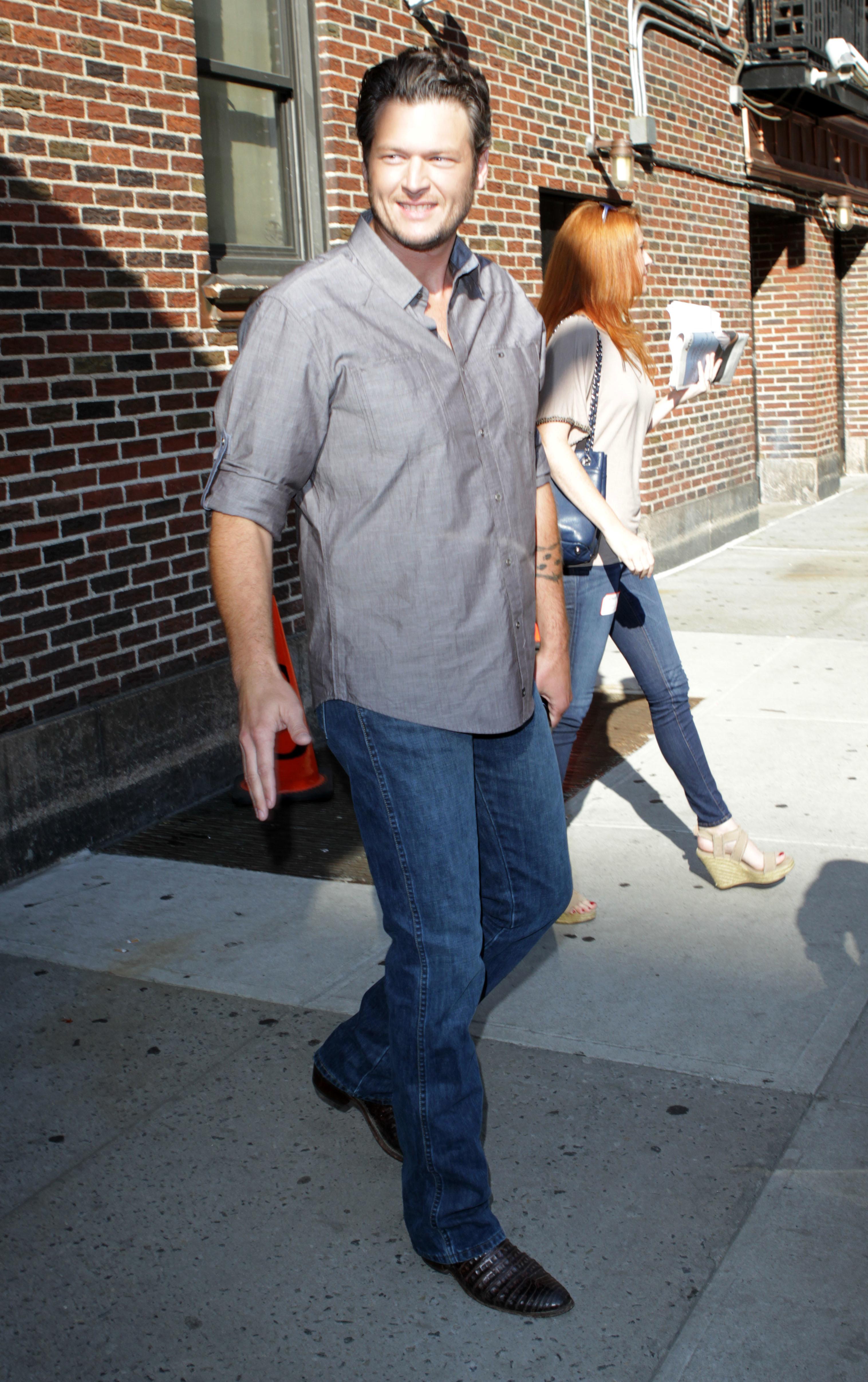 Blake Shelton Adam Levine David Letterman jeans