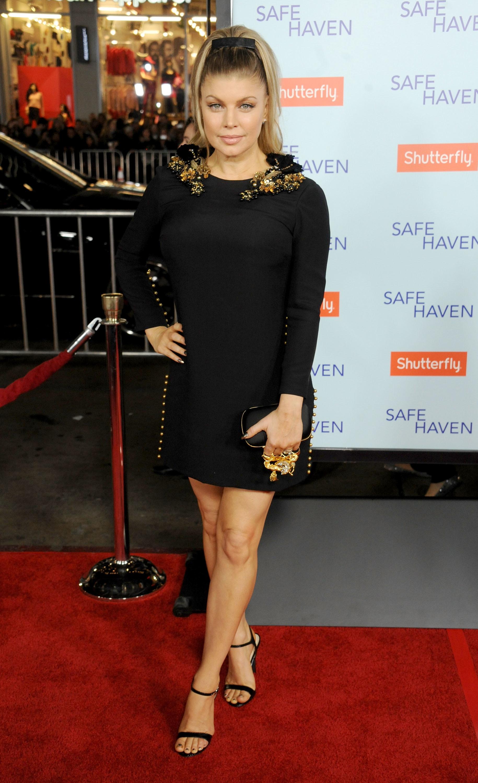 Fergie red carpet Safe Haven black dress