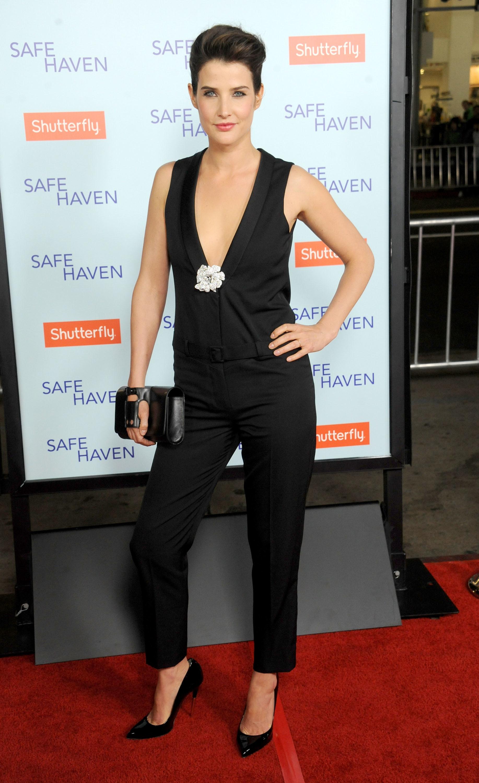 Cobie Smulders red carpet one piece pantsuit Safe Haven fashion