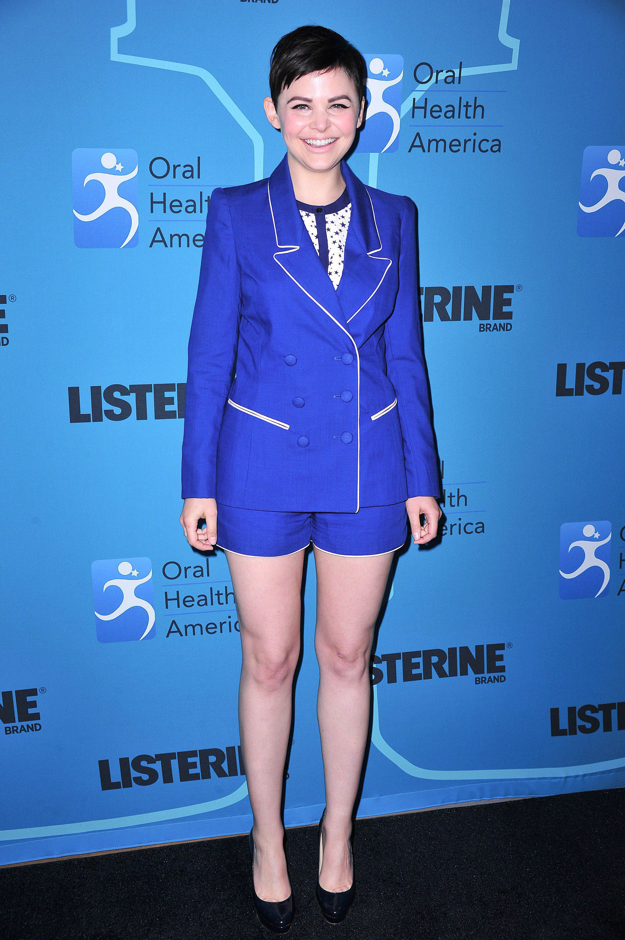 Ginnifer Goodwin royal blue shorts and jacket
