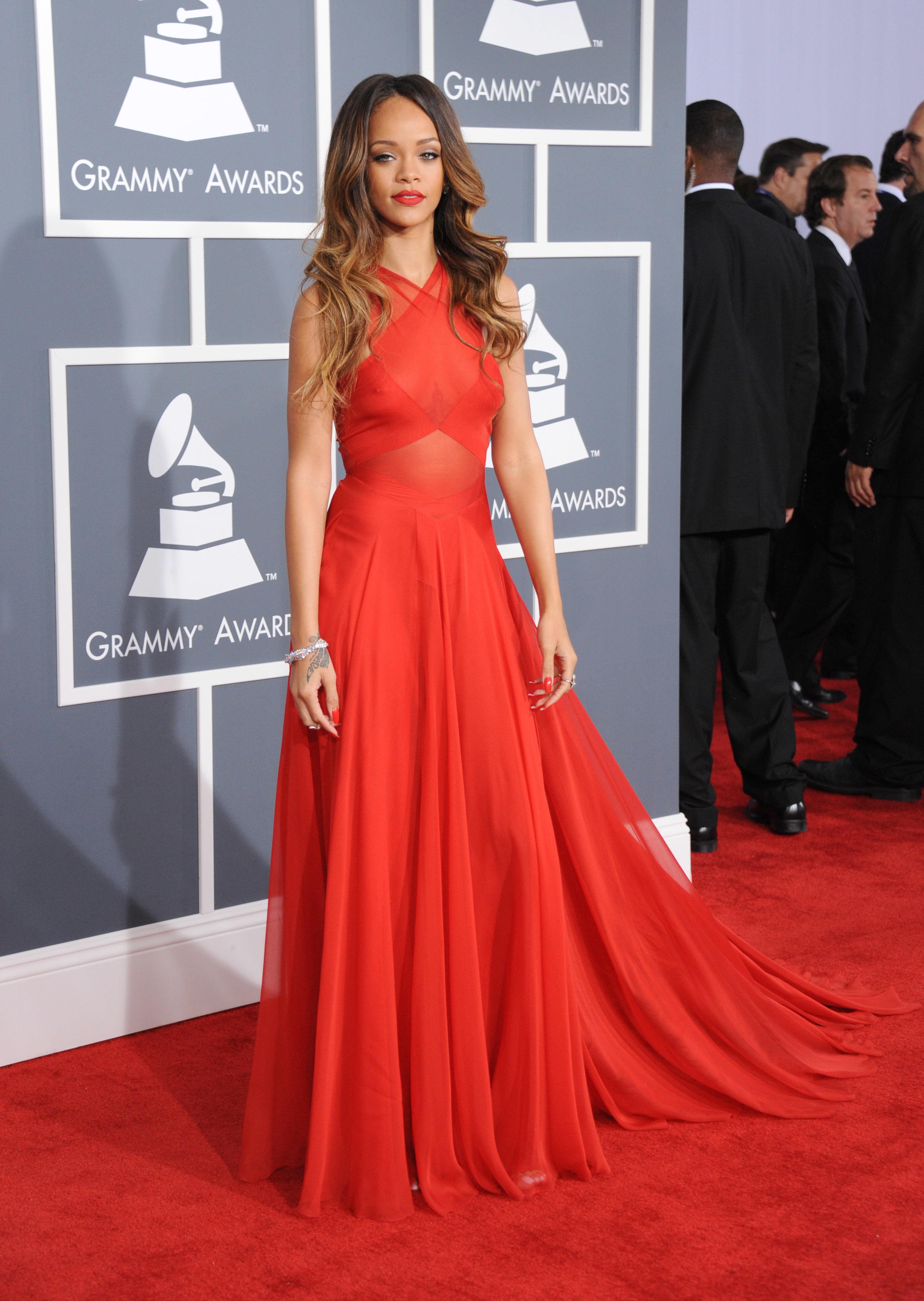 Rihanna red dress 2013 grammy awards