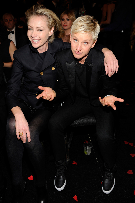 Portia deRossi and Ellen DeGeneres 2013 Grammy Awards