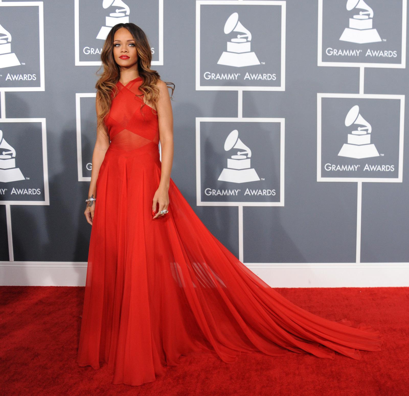 Rihanna fashion Grammy Awards red gown