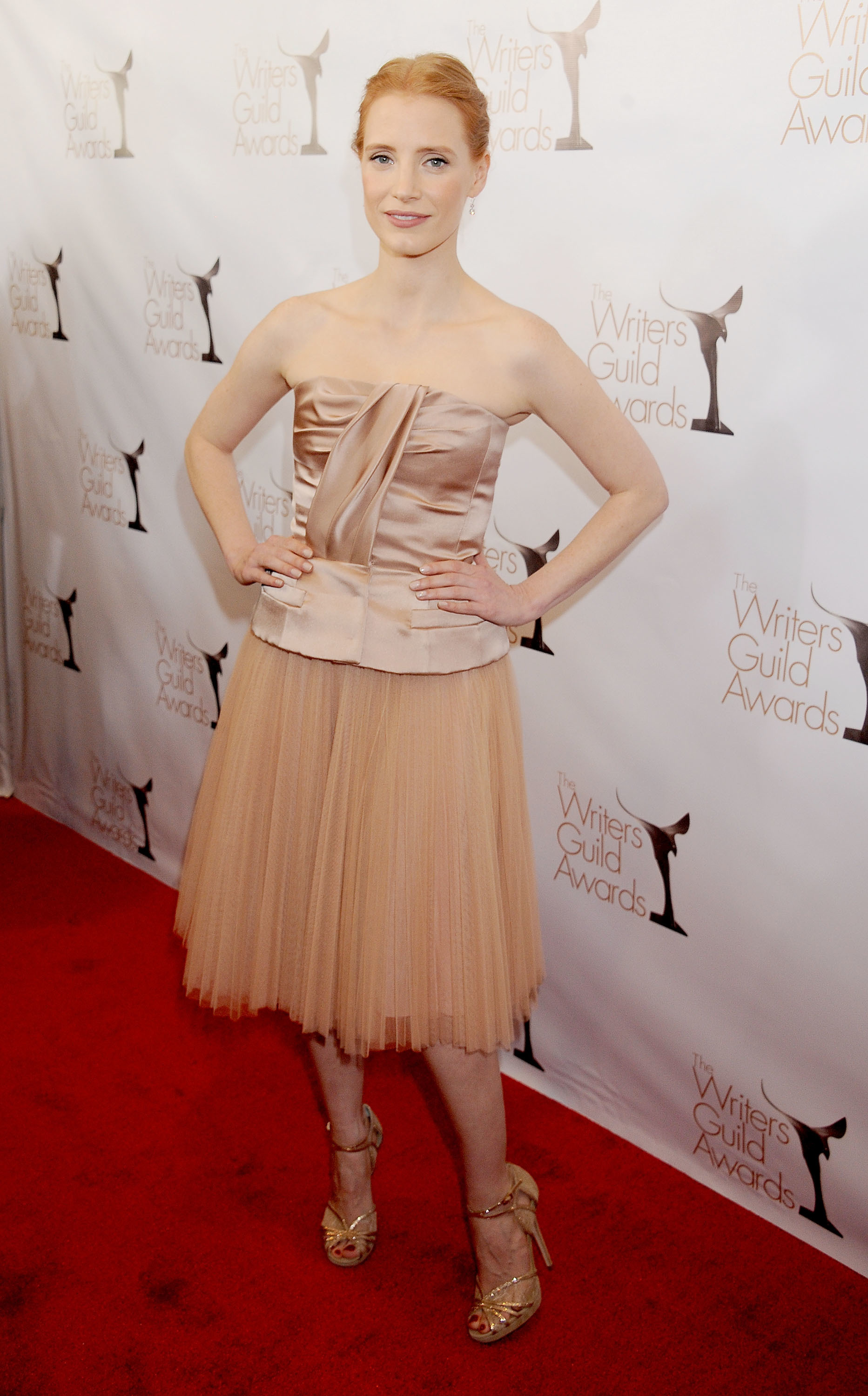 Jessica Chastain red carpet Dior Writers Guild